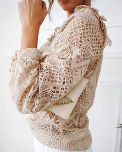 Lace Pleated Stitching Long Sleeves
