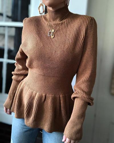 Solid Color High-Neck Tie-Hands Slim Knitted Long-Sleeved Sweater
