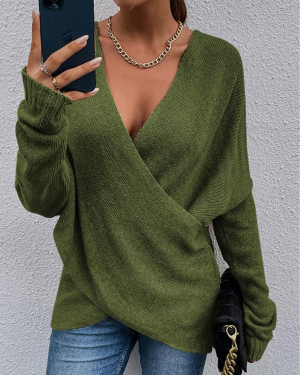 Pure Color Cross Loose Women's Knitted Sweater