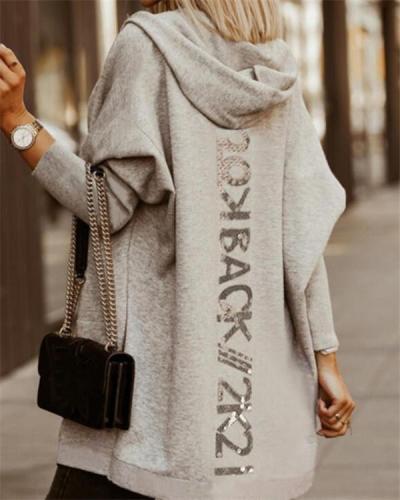 Women's Gray Hooded Sweater Long-sleeved Zipper Coat