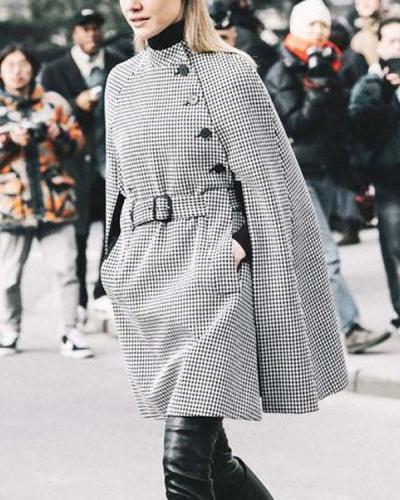 Vintage Check Elegant Cope Coat