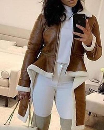 Long Sleeve Irregular Hem Fitting Coats