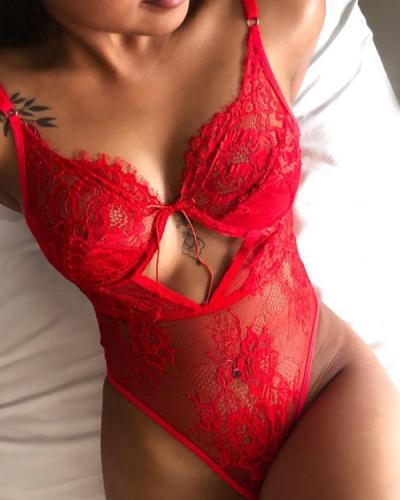 Embroidered Lace Lingerie Bodysuit Tie Up Lingerie