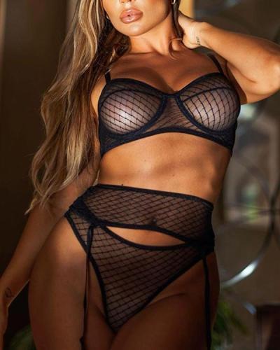 Black Lace Detail Bralette & Panties Lingerie Set