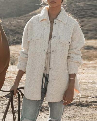 Loose Button Long-sleeved Plush Jacket