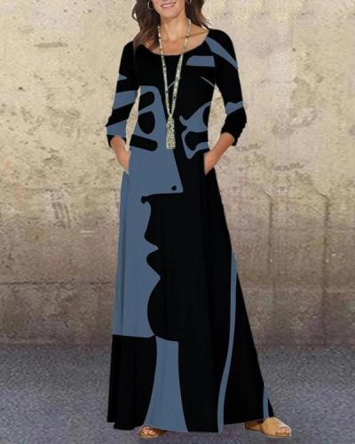 Casual GraffitiPrint Tunic O-Neckline Shift Maxi Dress