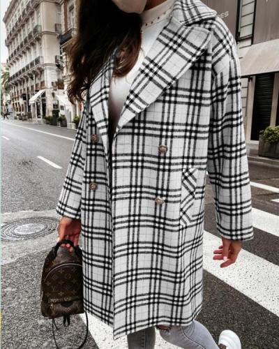 Women Fashion Plaid Lapel Midi Outerwear