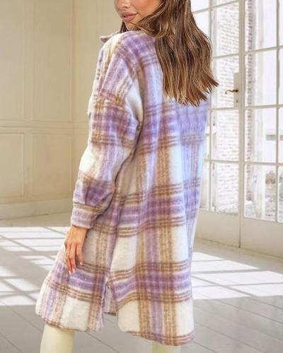 Women's Plaid Check Printed Midi Coat Jacket