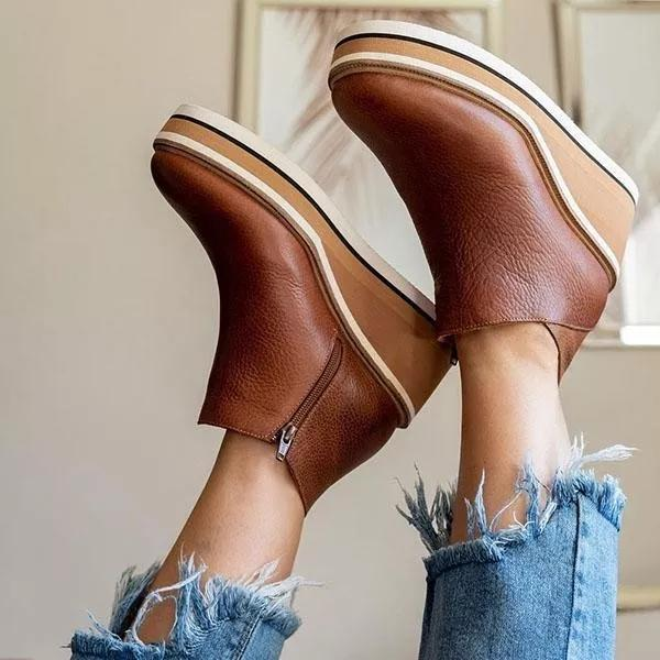 Women Solid Color Wedge Ankle Boots