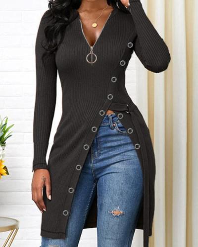 Side Slit Round Neck Long Sleeve Sweater