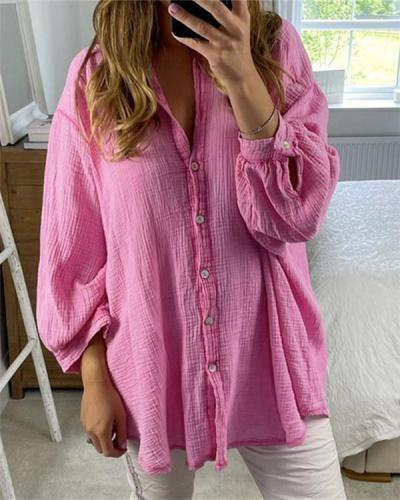 Pure Color Simple Loose Cotton Linen Shirt
