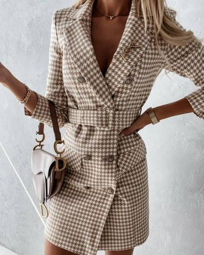Plaid Woolen Double-breasted Slim-fit Lapel Coat Dress with Waistband