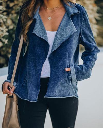 Washed Denim Wide Collar Pocket Jacket