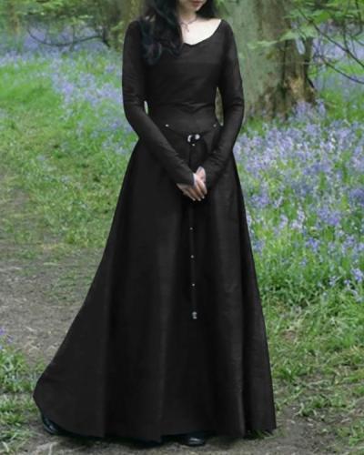 Classical Medieval Long Sleeve Round Neck Slim Ladies Dress