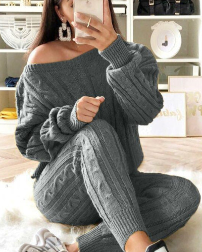 Women's Stylish Round Neck Two Piece Casual Warm Knit Wear Suit Sets