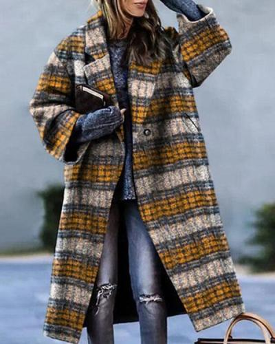Lapel Plaid Letter Calf-length Loose Fit Overcoat with Pockets