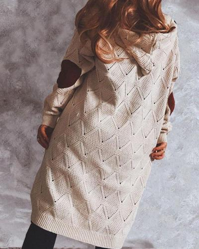 Suede Stitching Knitted Long Hooded Sweater Cardigan