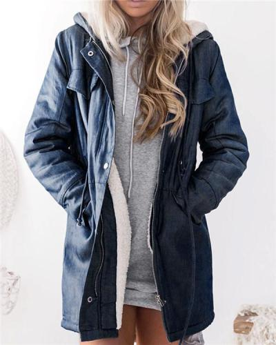 Hooded Trench Coat with Zipper Pockets