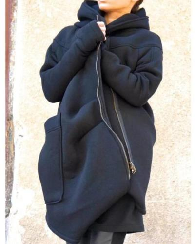 Mid-length Hooded Sports Sweatshirt