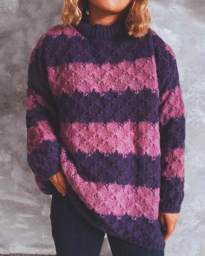 Stripe Contrast Crew Neck Knitted Sweater
