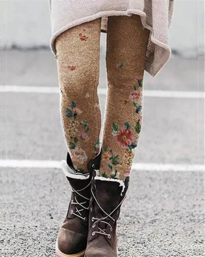 Stretchy Flower Print Leggings Casual Milk Fabric Pants