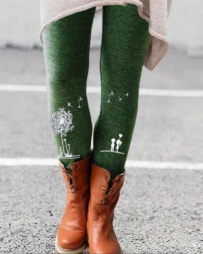 Floral Print Leggings Casual Milk Fabric Pants