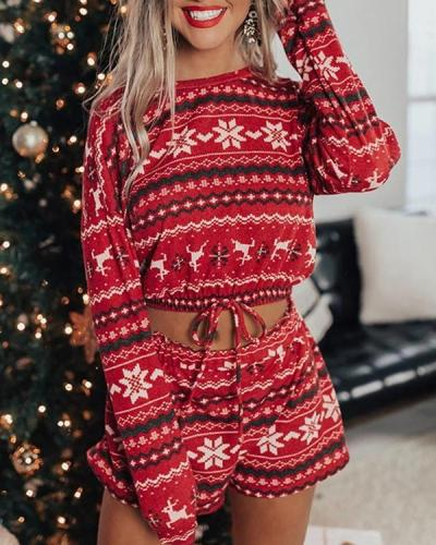 Christmas Print Loungewear Long Sleeve&Shorts Set