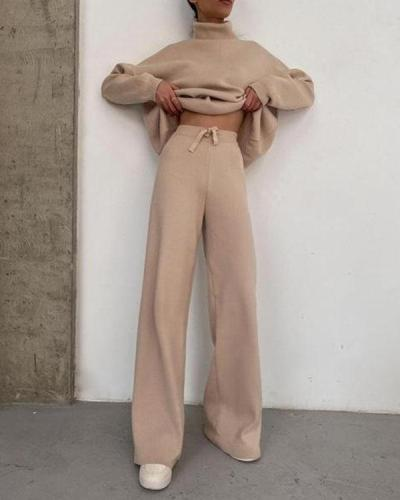 Pure Color Comfy Turtleneck Knit Sweater and Trousers Women's Suit
