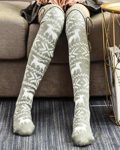 Christmas Print Warm Knee-High  Stockings