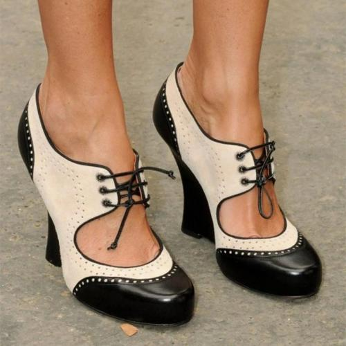 Vintage Oxford Heels Cut-Out Lace-Up Shoes