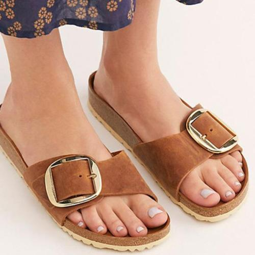 Summer Buckle Artificial Leather Slippers