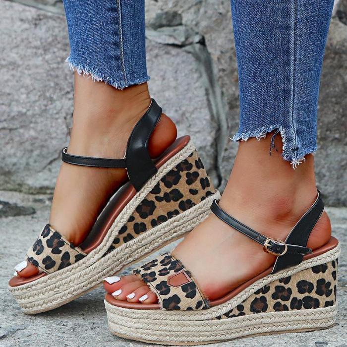 Women Open Toe Color Block Platform Wedge Sandals