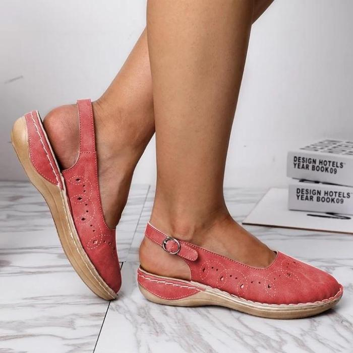 Woman Lace-up Round Toe Hollow Out Breathable Flat Sandals