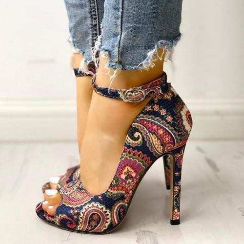 Ethnic Print Peep Toe Ankle Strap Thin Heeled Sandals