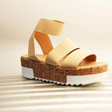 Pi Clue Fabric Block Heel Holiday Sandals