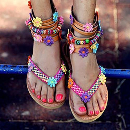 Women Summer Large Size Bohemian Zipper Flowers Handmade Beads Flat Sandals