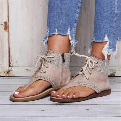 Thong Zipper Casual Cross Strap Sandals