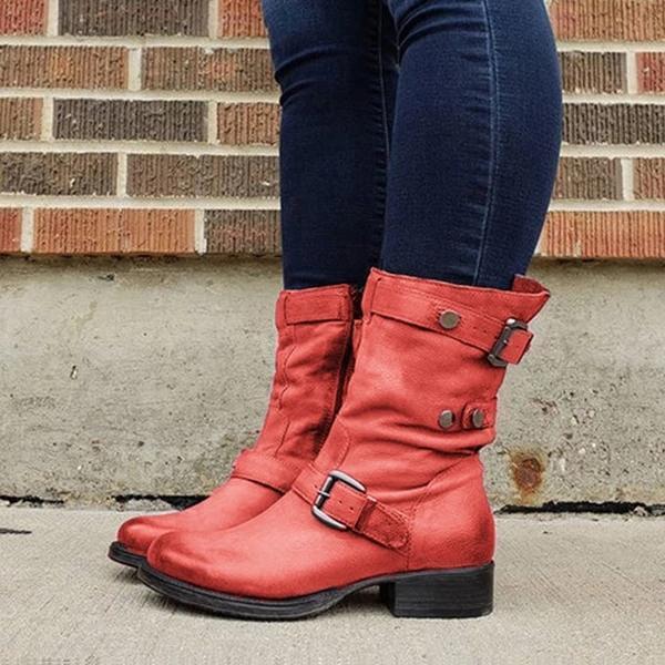 Women Casual Round Toe Low Heel Zipper Comfy Boots