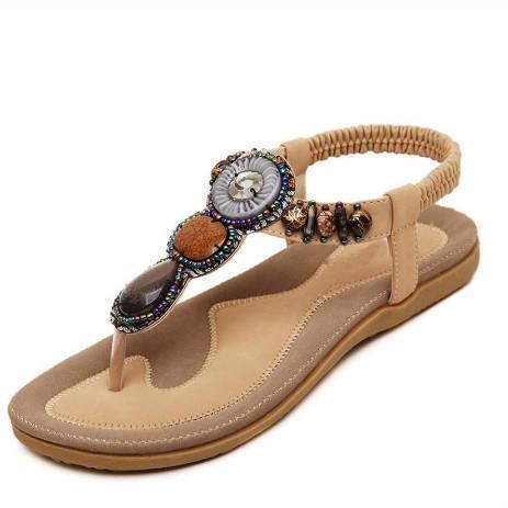 Women PU Flip Flops Casual Shoes Woman Beading Elastic Band Sandale