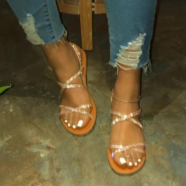 Women Large Size Summer Rhinestone Cross-Strap Flat Sandals