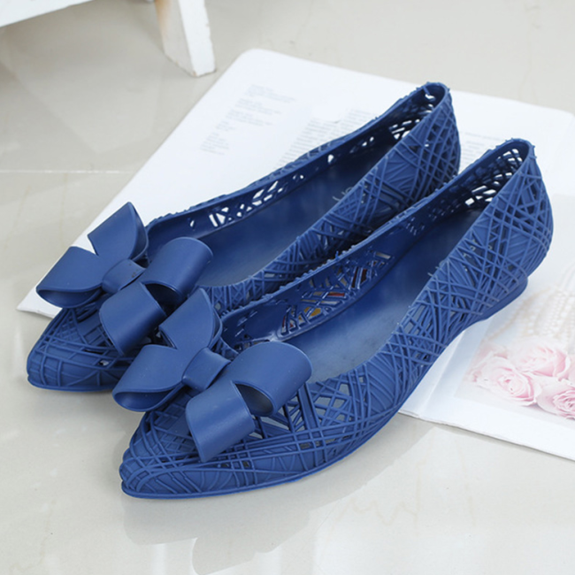 Women Summer Bowtie Hollow Out Flat Sandals Ladies Comfort Casual Loafers