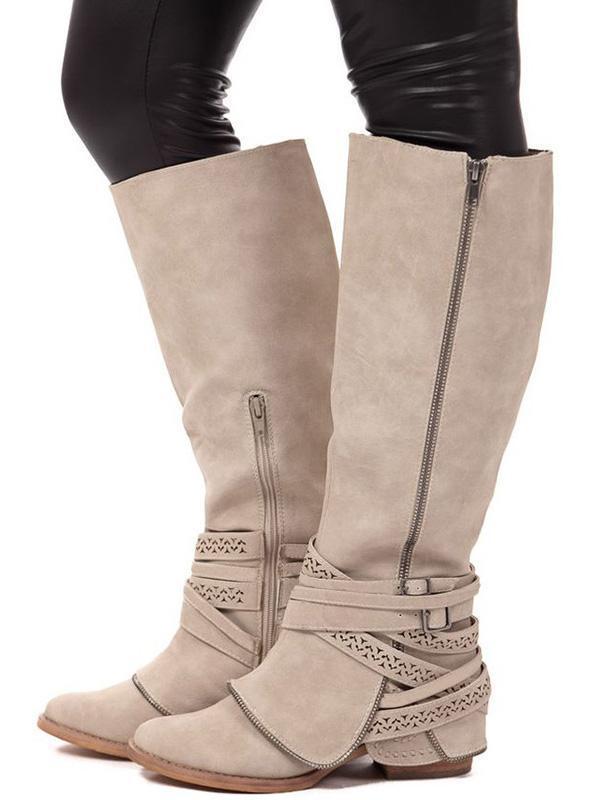 Fashion Thigh-high Bandage Low-heel Zipper Boots Shoes