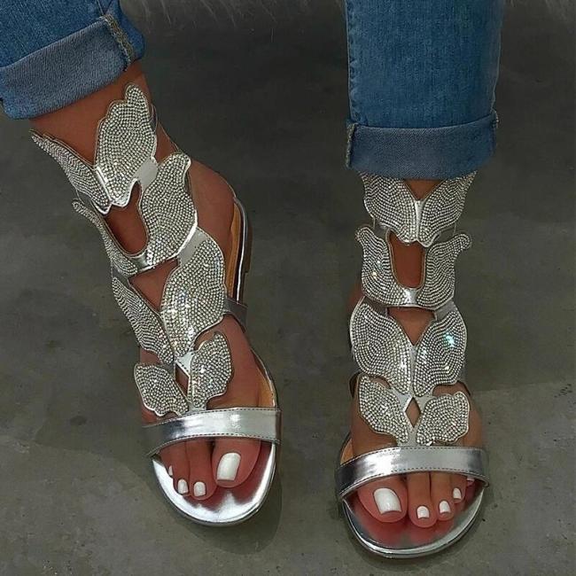 Women Fashion Rhinestone Wings Pattern Sandals