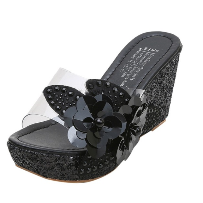 2020 New Fashion Women Summer Rhinestone Sequins Wedge Sandals