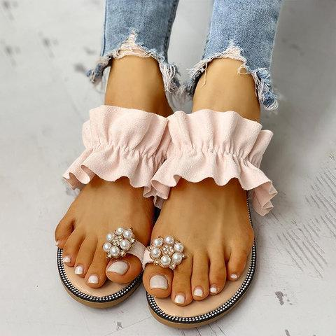 Pearl Rhinestone Flower Lotus Leaf Flat Sandals