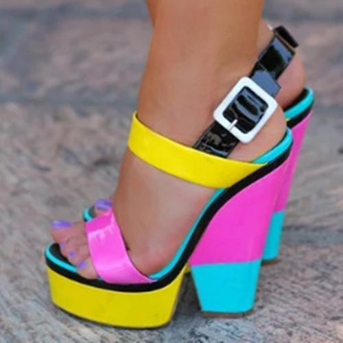 Colorful Buckle Chunky Sandals
