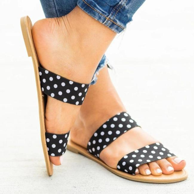 Women Summer Dot Flat Sandals