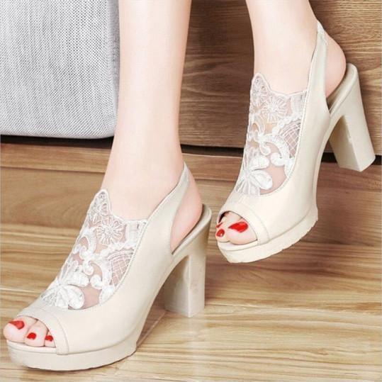 Sexy mesh stitching peep-toe high-heel sandals