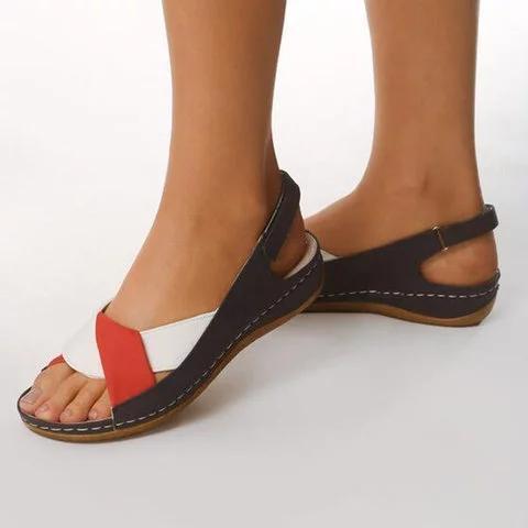 Peep Toe Women Flat Heel Magic Tape Summer Sandals