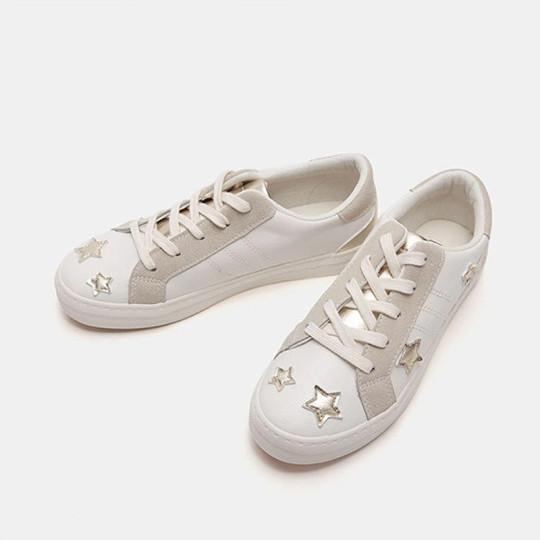 Round toe low-top lace-up color-block flat star shoes